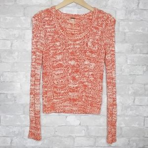 Free People Marled Cable Knit Pullover Sweater